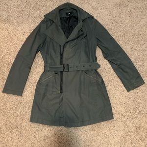 H&M Asymmetric Zip Belted Trench Coat Size Small